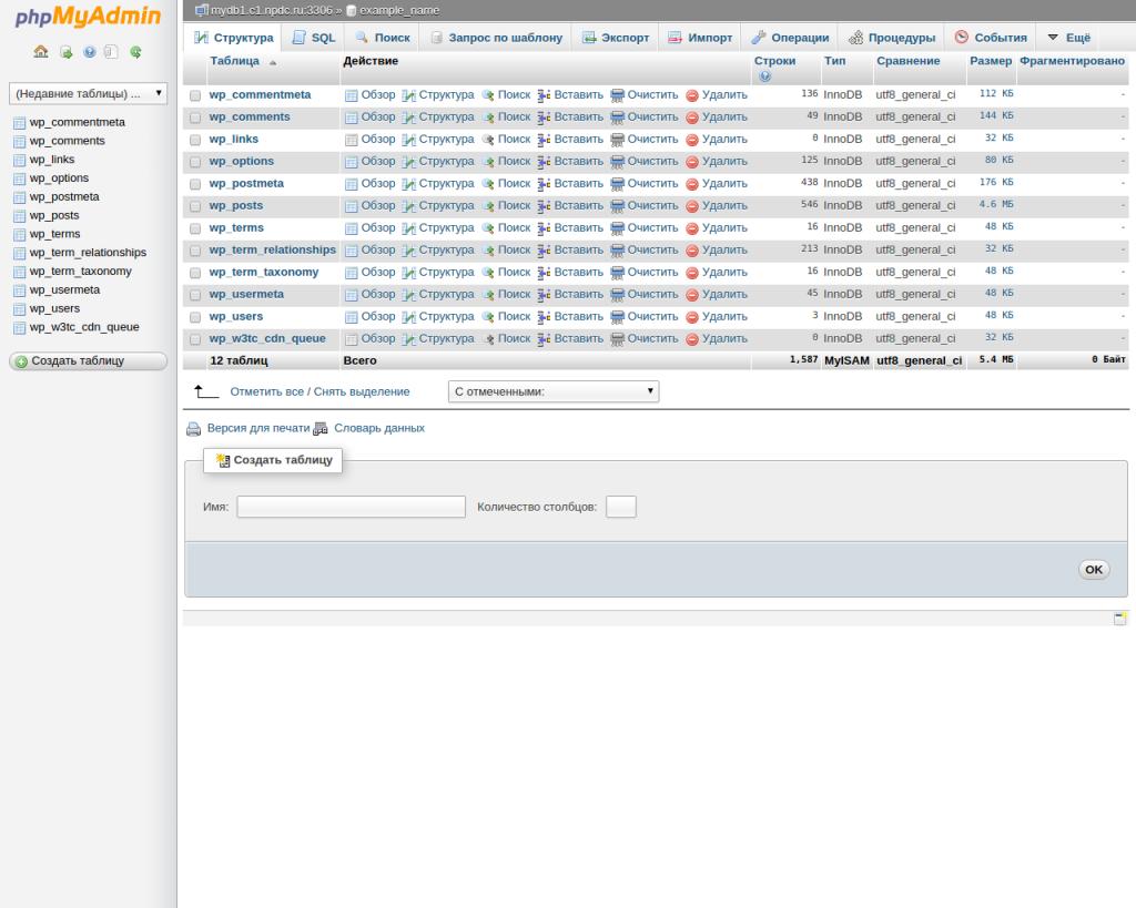 Таблицы базы данных в PHPMyAdmin