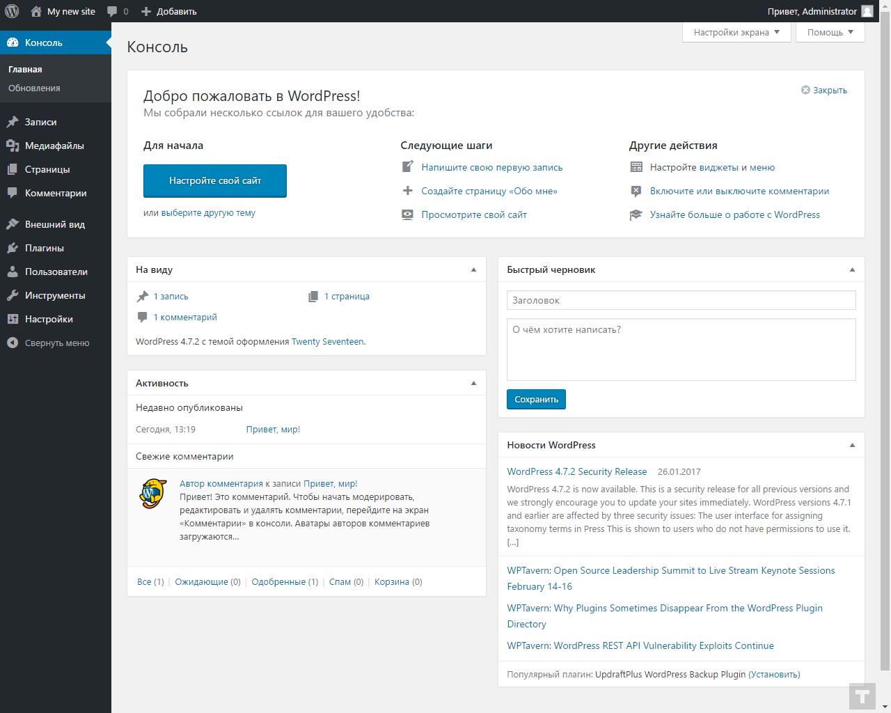 Главная страница администрирования WordPress