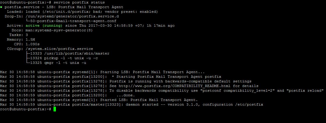 Статус сервера postfix
