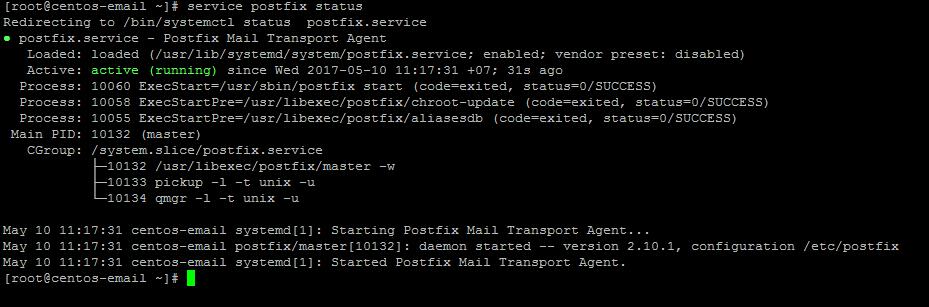 Активный postfix в Centos